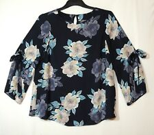 NAVY BLUE  PINK FLORAL LADIES CASUA FORMAL PARTY TOP BLOUSE SIZE 8 F&F