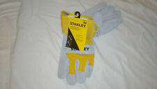 NEW STANLEY Split Cowhide Leather Construction Work Gloves LARGE Pair 2 in stock