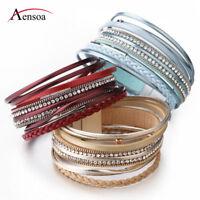 New Vintage Women Multilayer Leather Rhinestone Crystal Wristband Charm Bracelet
