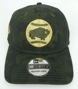BUFFALO BISONS MiLB NEW ERA ARMED FORCES MILITARY 39THIRTY SIZE M/L HAT CAP NEW!