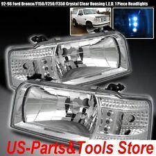 Für Ford F150 F250 F350 Bronco Scheinwerfer Satz Klarglas 92 - 96 LED 1992 1996