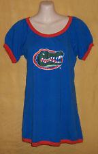 Collegiate womens blue orange Florida Gators t tee sport shirt keyhole top UOF L