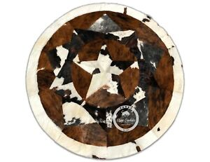 """Round Cowhide Rug Tricolor Multi Star 60"""" - 80"""" (5 ft - 6.7 ft)"""