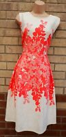 BONMARCHE WHITE PINK FLORAL WEDDING SLEEVELESS A LINE SKATER MIDI PARTY DRESS 18