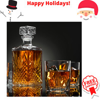 Elegant Whiskey Decanter set whit Stopper & 6 Glasses Italian Craftedy Glassesuc