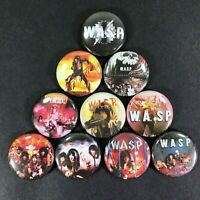 """W.A.S.P. 1"""" Button Pin Set Blackie Lawless Heavy Metal Rock WASP"""