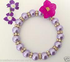 Classic Purple Pearl bead bracelet Bangle Gold baby christening FREE Gift Bag