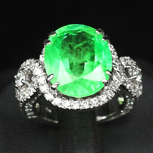 EMERALD GREEN OVAL 12.40 CT.SAPPHIRE 925 STERLING SILVER RING SZ 6.75 GIFT WOMEN