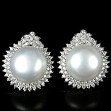 Sterling Silver 925 Genuine Natural Baroque Pearl & Lab Diamond Earrings