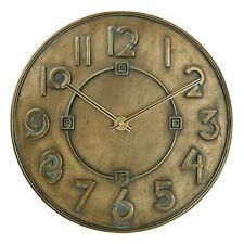 "Bulova Clocks C3333 Frank Lloyd Wright Exhibition Antique Bronze 12"" Wall Clock"