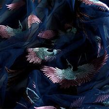 100x140cm Embroidered Flying Phoenix Mesh Wedding Dress Material Fabric 227 B