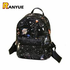 Women School Backpack Teenage Casual Space Faux Leather Girls Small Bag