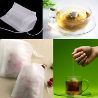 100x Empty Draw String Teabags Heat Seal Filter Paper Herb Loose Tea Bags