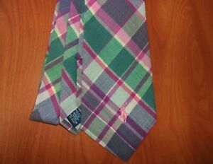 Vintage Polo Ralph Lauren Plaid Pattern 100% Cotton Hand Made Tie ~Made In USA~