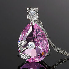 Lady Fashion Jewelry Pear Cut Pink Sapphire Amethyst Pendant Necklace Chain