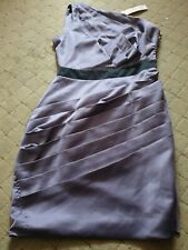Lipsy London Size UK 10 One Shoulder Pleat Detail Moondust Dress Occasion Party