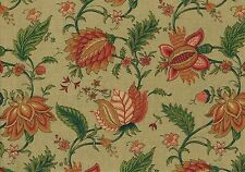 Richloom Fabric Khaki Coral Green Gold Burgundy Floral Drapery Upholstery