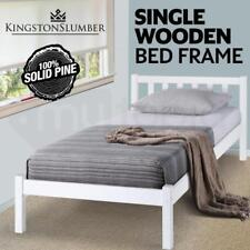 Classic Kids Adults Wooden Bedroom Bed Frame - Timber Slats - Single - White
