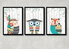 Bild Eulen 3er Set Kunstdruck A4 Tribal Tiere Poster Kinderzimmer Deko