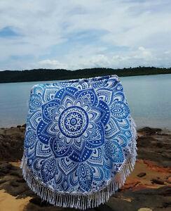 """mandala Indian 46"""" Round Mandala Bohemian Tapestry Roundy Beach Rug Yoga Mat Art"""