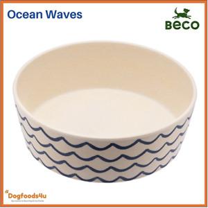 Beco eco biodegradable dog bowl - Large Ocean Waves - Natural