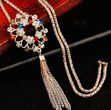 Beautiful & Sexy Colorful Czech Crystal Pendant Tassel Long Gold Lariat Necklace