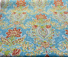 Wavely Crystal Vision Blue Capri Damask Floral Fabric By the Yard