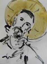 JOSE TRUJILLO ACRYLIC PAINTING BUNNY BLACK WHITE MODERN DECOR CHRIST PORTRAIT
