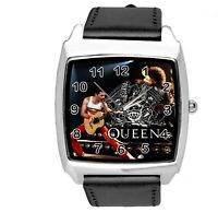 QUEEN Freddie Mercury ROCK BAND MUSIC KING SQUARE CD DVD BLACK LEATHER WATCH