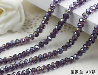 AB 100 (±3) PCS , 4 X 6 mm  Purple Crystal Faceted Abacus Loose Beads
