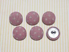 6 Country Dots Fabric Covered Buttons - Pink (20mm)