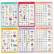 5 Sheets Cartoon Paper DIY Photo Album Scrapbook Calendar Diary Planner Sticker