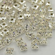 50pcs Square Brass Grade A Rhinestone Beads Montee Silver Metal Color Crystal