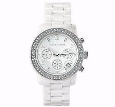 Michael Kors Runway MK5188 Silver-Ton White Ceramic Crystal Glitz Women Watch
