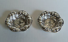 GORGEOUS PAIR ANTIQUE CHASED STERLING SILVER NUT DISHES, FLORAL DESIGN