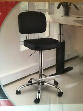 Extended Height Office Chair With Chrome Base And Black Leather Seating