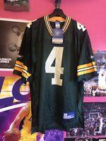 NWT Brett Favre #4 Green Bay Packers Reebok On Field Green Home Jersey Mens M