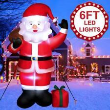 6ft Inflatable Christmas Santa Airblown Holiday Yard Outdoor Lighted Xmas Decor