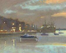 "ORIGINAL MICHAEL RICHARDSON ""Evening in Harbour"" Coastal Coast ship OIL PAINTING"