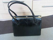 Ladies 1950s Vintage Black Patent Leather Bag