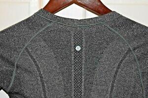 LULULEMON Size 4 Women's L/S Fitted Nylon Spandex Mesh Shirt Heather Gray