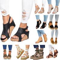 Damen hohe Keilabsatz Plateau Wedges Sandalen Espadrilles Sommer Schuhe Pumps