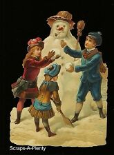 German Embossed Scrap Die Cut - Large Christmas Children Making Snowman   BK5065
