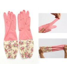Rubber Kitchen Cleaning Latex Long Gloves Durable Waterproof Non Slip Horn Cuffs