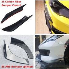 2xCarbon Fiber Front Bumper Splitter Spoiler Canard +2xBumper Split Front Shovel