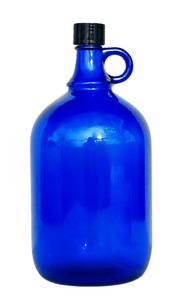 2 Liter Glasballon Flasche Wein Wasser Henkelflasche Gallone blau