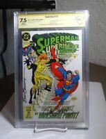 SUPERMAN #73 CBCS 7.5 Witnessed SIGN Breeding + Jurgens 1992 Doomsday Cameo DC