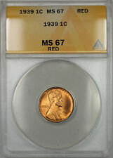 1939 Lincoln Wheat Penny 1C Coin ANACS MS-67 Red (RM)