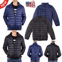 Fashion Mens Ultralight Down Jacket Puffer Parka Stand Collar Warm Zip Coat Size