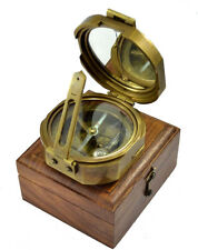 "Antique Quality Vintage Natural Sine 2.5"" Heavy Brass Brunton Compass Steampunk"